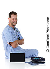 Young successful caucasian man doctor, positive
