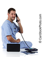 Young successful caucasian man doctor, x-ray