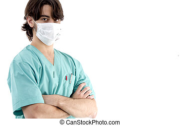 young surgeon posing with crossed arms