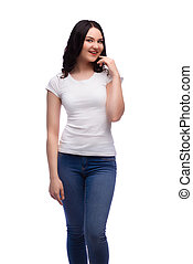 young surprised  woman in blank white t-shirt,isolated