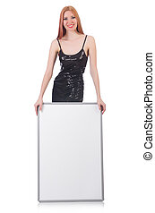Young tall woman holding blank board isolated on white