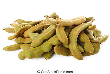young tamarind on white