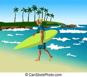 young tanned man goes and carries a surfboard