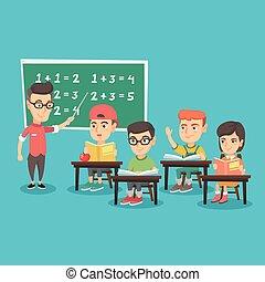 Young teacher explaining to children mathematics.