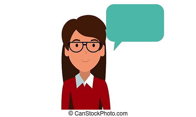 young teacher female with speech bubble animation - young...