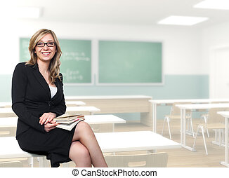 young teacher - fine portrait of young blonde teacher in the...