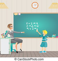 Young teacher holds a lesson in arithmetic in primary school. Boy decides examples of mathematics at the blackboard. Vector flat cartoon illustration