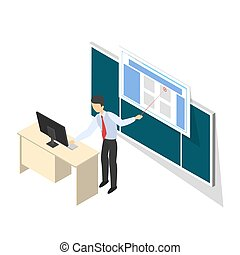 Young teacher standing at the blackboard isometric