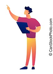 Young teacher with papers in hand pointing at something vector illustration.