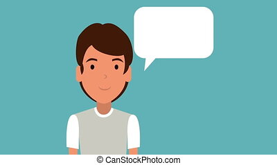 young teacher with speech bubble animation - young teacher...