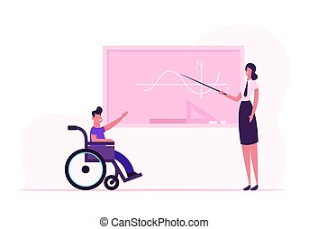 Young Teacher Woman and Disabled Boy in Wheelchair near Blackboard in Classroom. Handicapped Schoolboy Answering Mathematics Lesson in Class. Disability School Concept Cartoon Flat Vector Illustration
