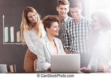Young team having brainstorming