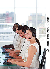 Young Team working in a call centre - Team working in a call...