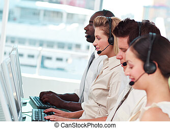 Young Team working in a call centre