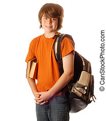 young teen boy with backpack and books isolated on white background