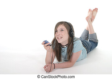 Young Teen Girl Listening To Music 1