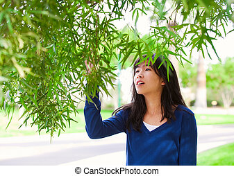 Young teen girl outdoors, reaching up to touch leaves on tree