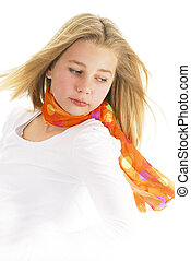 young teen girl wearing scarf