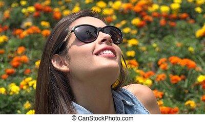 Young Teen Girl Wearing Sunglasses
