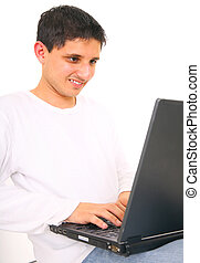 Young Teen Using Laptop