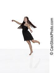 Young Teen Woman Caucasian Black Dress Smiling