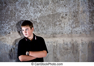 Young teenage boy portrait - Portrait of teenager against in...