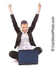 young teenage girl using a laptop