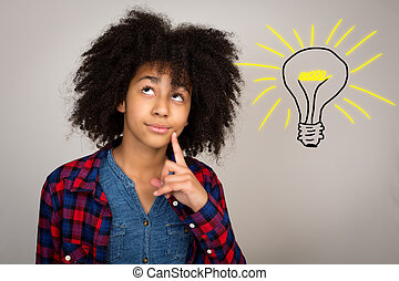 Young Teenage Girl With Afro Hair Thinking - Young teenage...