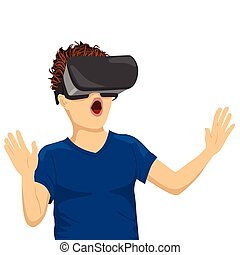 young teenager boy looking in vr goggles on white background