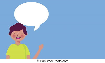young teenager boy with speech bubble animation - young...
