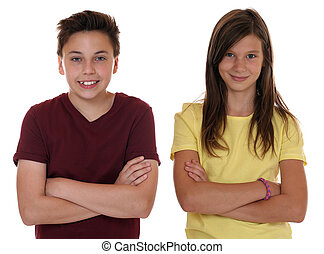 Young teenager children portrait with folded arms, isolated...