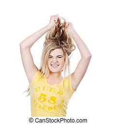Young teenager female tearing her hair