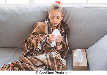 Young teenager girl alone at home childhood sick feeling...