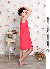 Young teenager girl in red pajamas - Young teenager girl in...