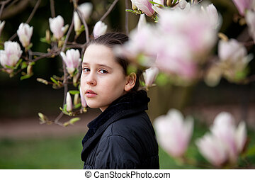 Young teenager girl in the park