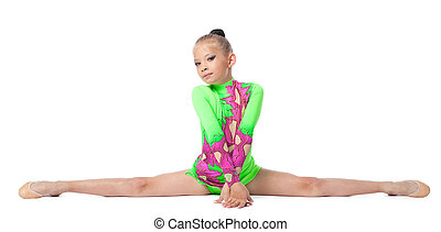 beautiful girl sit on a splits - look at camera isolated