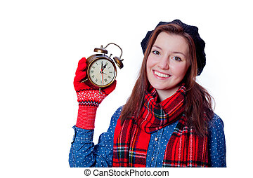 Young teenager girl with alarm clock