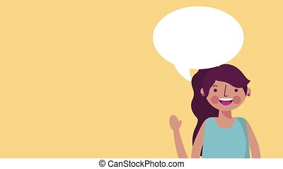 young teenager girl with speech bubble animation - young...