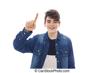 young teenager isolated in white with raised finger pointing