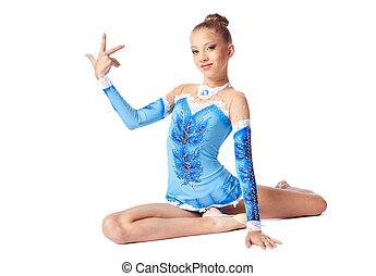 Young teenager show gymnastic split isolated
