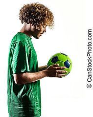 young teenager soccer player man silhouette isolated