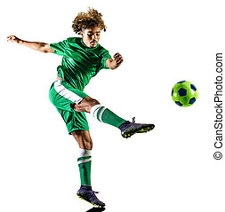 young teenager soccer player man silhouette isolated - one...