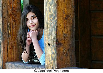 Young teenager - Beautiful young teen girl relaxing on...