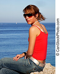 Young Teenager - Young teenager girl near the mediterranean...