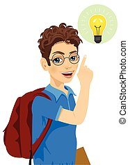 young teenager student boy with glasses pointing finger to light bulb having an idea