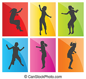 Young teenagers and children illustration collection silhouettes jumping in the air background vector