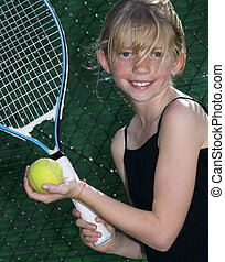 Young Tennis Player - Confident Elementary Age Girl with ...