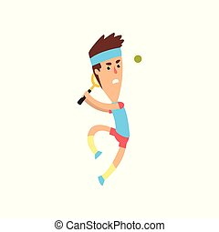 Young tennis player jumping to hit ball. Funny guy in action. Man in sportswear. Active sports game. Flat vector design