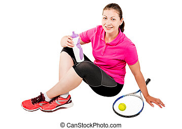 young tennis player resting after the game sitting on a white background