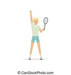 Young tennis player standing with racket in hand. Cartoon man character. Summer olympic sport. Isolated flat vector illustration